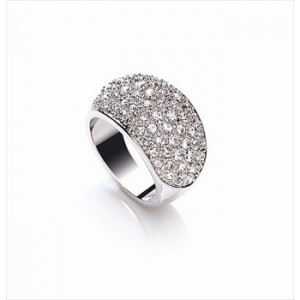 Rhodium Plated Clear Crystal Domed Ring