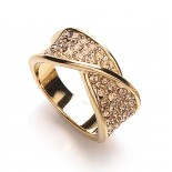 Gold Plated Crystal Twist Ring